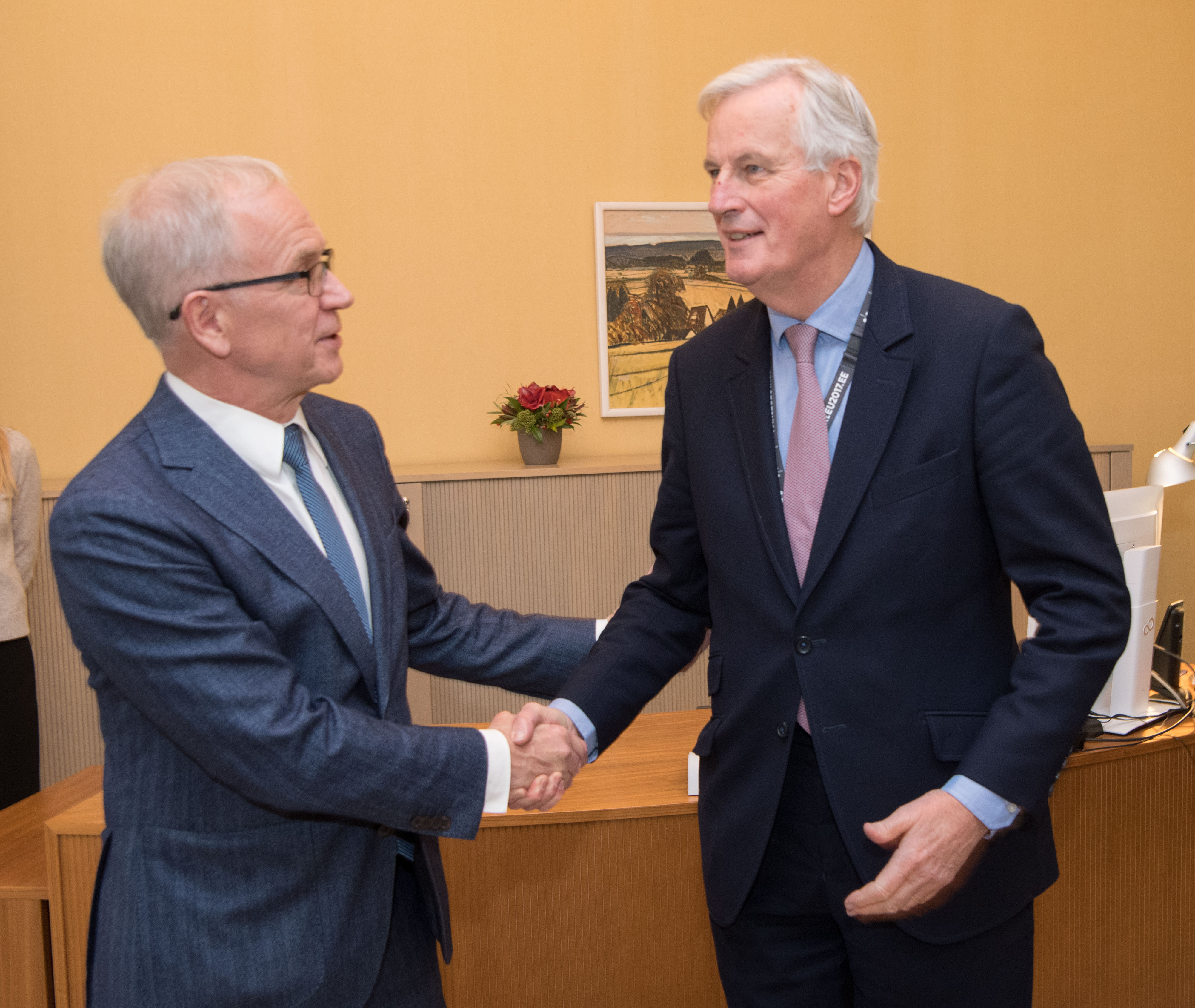President of the Riigikogu (Parliament of Estonia) Eiki Nestor with European Chief Negotiator for the United Kingdom Exiting the European Union Michel Barnier